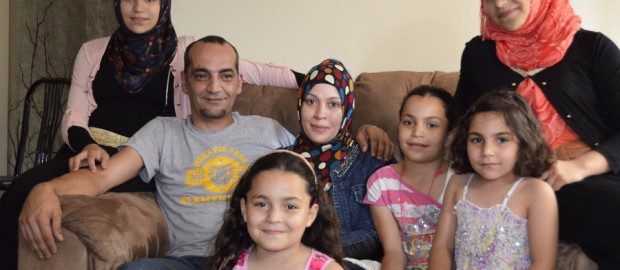 Mohammad and Linda Jomaa al-Halabi, along with their five daughters, are among the fewer than 1,000 Syrian refugees who have been resettled in the U.S. They left Syria in August 2012 and arrived last year in Baltimore, where they live now. Michele Kelemen/NPR