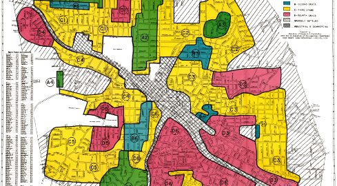 A redline map of Durham, NC, from  1937